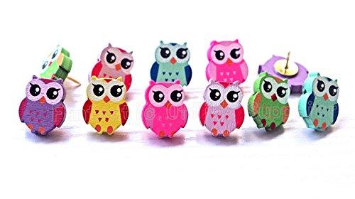 50 PCS Owl Design Push pins Drawing Pin,Creative Pushpins/Thumbtacks Decorative for School Home & Office, Assorted Colors Photo #3