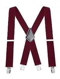 "Buyless Fashion 48"" Men's Heavy Duty 2"" Wide Elastic Adjustable X Back Suspender - 5116-Burgundy"