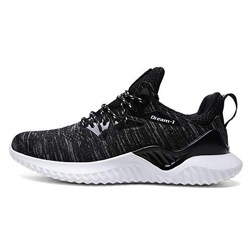 New Men Running Shoes Men Sneakers Jogging Mesh Sport Shoes Original Outdoor Trainer Breathable Plus Large Size 46,1810 Black White,7.5 ()