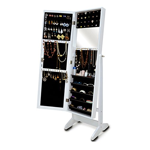 Organizedlife White Jewelry Armoire Mirrored Locking Wall Mount or Over the Door Jewelry Organizer ()