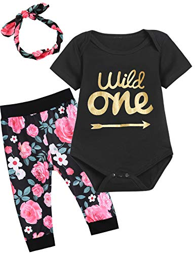 Baby Girls One Year Old Wild One Floral Outfit Set Short Sleeve Layette Sets