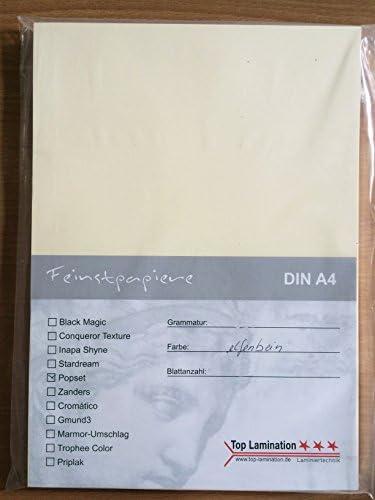 50 Blatt DIN A5 elfenbeinfarbiges Papier Bastel-Karton 320g/m² von Top Lamination - komplett durchgefärbt cremefarbig