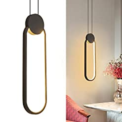 Interior Lighting Ditoon Modern Black Pendant Light Fixture LED Oval Hanging Light Fixture for Bedside Nightstands 15w Warm White modern ceiling light fixtures
