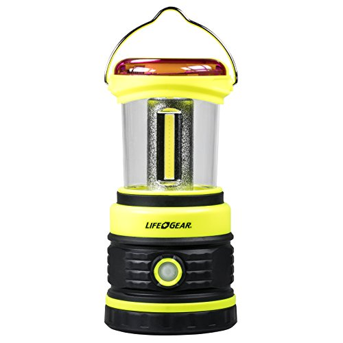Life Gear 600 Lumen COB Camping Lantern with Red Safety Flasher, Black/Lime Green by Life Gear