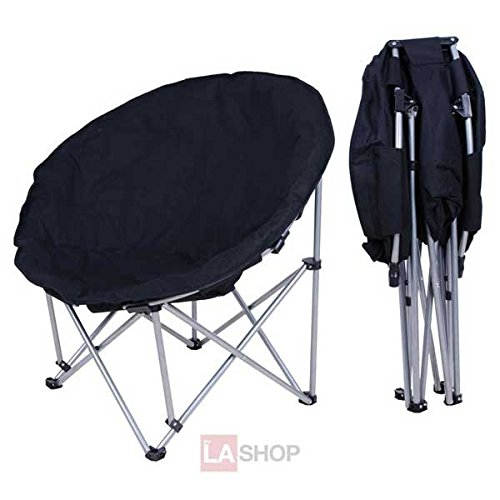 New Large Oversize Black Folding Black Saucer Padded Moon Chair for Camping Hiking Porch Comfort Lounge Bedroom Garden Furniture Seat Opt
