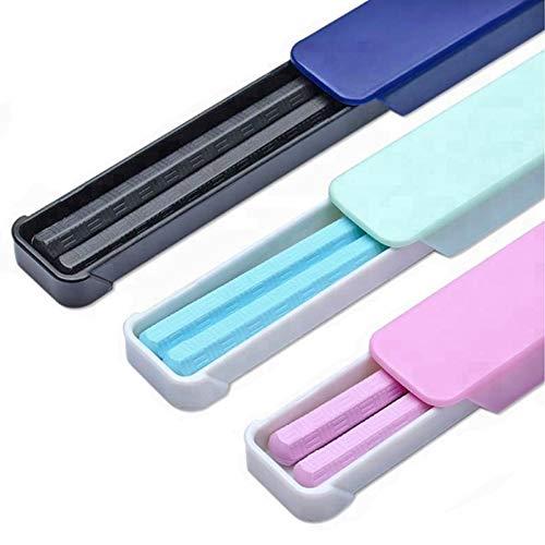 Blue Chopsticks - 2 Pack Fiberglass Chopsticks: Pink, Blue, or Black Reusable Dishwasher Safe Chopstick Sets with Case (2 Pack, Blue)