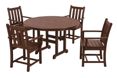 "POLYWOOD PWS134-1-MA Traditional Garden 5-Piece Dining Set, Mahogany - Set includes four TGD200 Traditional Garden Dining Arm Chairs and one RT248 Round 48"" Dining Table POLYWOOD recycled HDPE lumber has the look of painted wood without the upkeep real wood requires; requires no painting, staining or waterproofing Heavy-duty construction withstands nature's elements; will not splinter, crack, chip, peel or rot- is resistant to stains, insects, fungi, salt spray - patio-furniture, dining-sets-patio-funiture, patio - 41LMlbfNibL -"