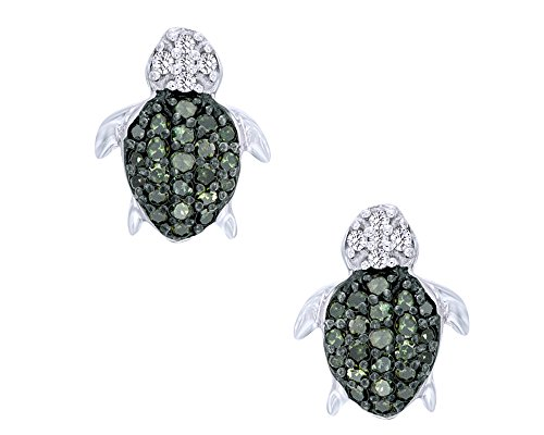 Round Cut Green & White Natural Diamond Turtle Stud Earrings In 14K White Gold Over Sterling Silver (1/6 Cttw)
