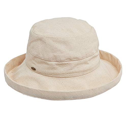 Scala Women's Medium Brim Cotton Hat, Linen, One Size from SCALA