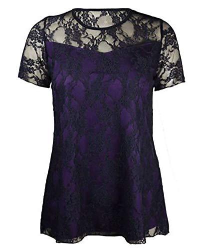 Dentelle Unique Noir violet Noir 21fashion Manches Femme T Taille shirt Courtes 8O6Efx