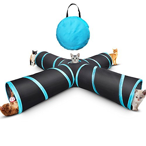 (Myguru Cat Tunnel, Upgraded Collapsible 4 Way Crinkle Cat Toy Tube with Storage Bag & Catnip Toys for Large Cats,Dogs,Rabbits,Indoor/Outdoor Use (Large Size))