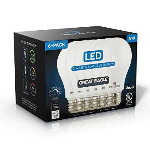 Great Eagle 100W Equivalent LED A19 Light Bulb 1500 Lumens Cool White 4000K Dimmable 14-Watt UL Listed (6-Pack)