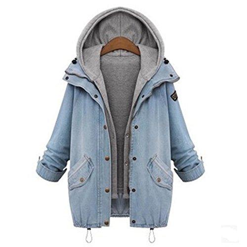 Raylans Women's Loose Hooded Denim Jacket Long Sleeve Outwear Coat Plus Size by Raylans
