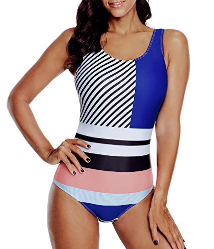 (Women's One Piece Swimsuits for Women Bathing Suits Athletic Training Womens Swimsuits Swimwear Racerback Blue Powder Stripe Stitching X-Large (fits Like US 12-14))