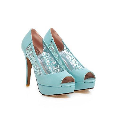 AgooLar High Heels PU Women's Sandals Pull Solid on Toe Skyblue Peep rqxprOa