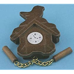 International Miniatures Dollhouse Miniature Wooden Cuckoo Clock, Brown