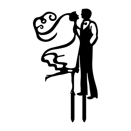 Wedding Cake Toppers Bride and Groom Wedding Cake Decoration ,2/group black ()