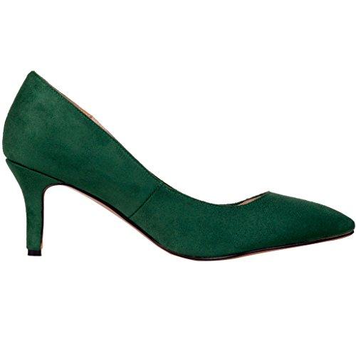 5CM Escarpins Haute Talon Camake Femme Grande Mariage Calaier 5 Qualité Vert Pointe Glisser Talon Aiguille sur Chaussures Taille Talon Haut Pompes ZyfcWAHW