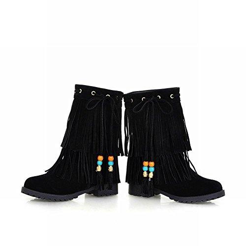 Boots Casual Snow Heel Mid Tassels Women's Sweet Black Carolbar wq0HRR