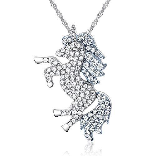 4MEMORYS Rainbow Unicorn Jewelry Set Including Pendant Necklace, Bracelet Rhinestone Crystal Rhodium Plated Women Girls Unicorn Gift Set (Necklace only) - Earrings Necklace 2 Bracelets