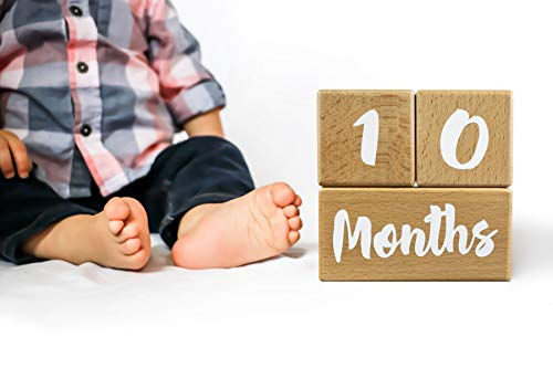 Natural Wood Keepsakes Growing Gifts Baby Milestone Blocks for Boys and Girls First Year 3 Pc. Set Infant Shower and Yearly Photo Props Monthly Weekly Real Newborn