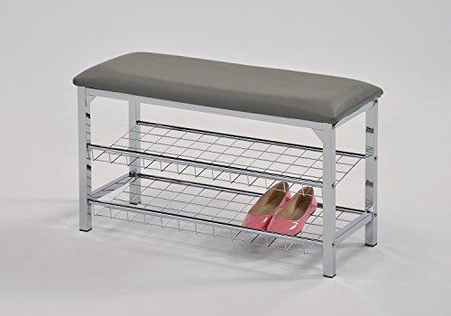 Grey Bonded Leather Chrome Frame Shoe Storage Bench