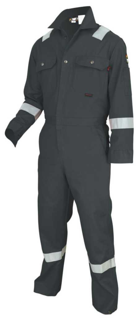 MCR Safety DC1RG52T Dlx Contractor Flame Resistant (FR) Coveralls w/ Reflective Tape, Gray, Size 52 Tall, Chest 52-Inch, Waist 48-Inch, Inseam 32-Inch