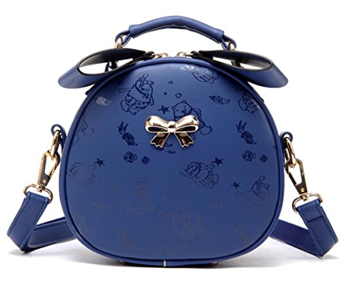 Kayers Sulliva Girls Cute Bowknot Small PU Leather Crossbody Shoulder Bag Cell Phone Zipper Purse(Navy Blue)
