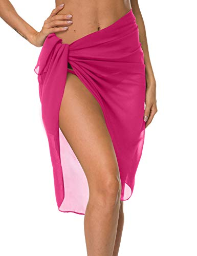 ChinFun Women's Sarong Wrap Beach Swimwear Chiffon Cover Up Long Length Pareo Bikini Swimsuit Wrap Skirt Bathing Suit Shawl Semi-Sheer Translucent Solid Fushcia Original Size