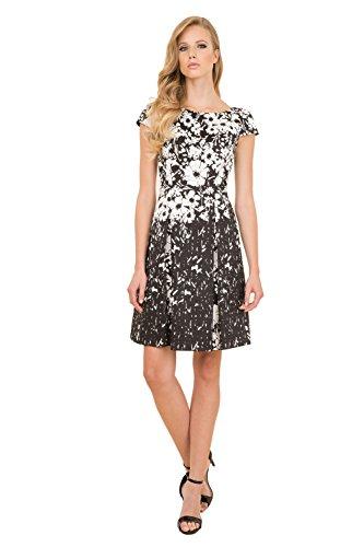 NEW Luisa Spagnoli Elegant Black   White Floral Stretch Cotton skirt Cap  sleeve 86291c21cb0