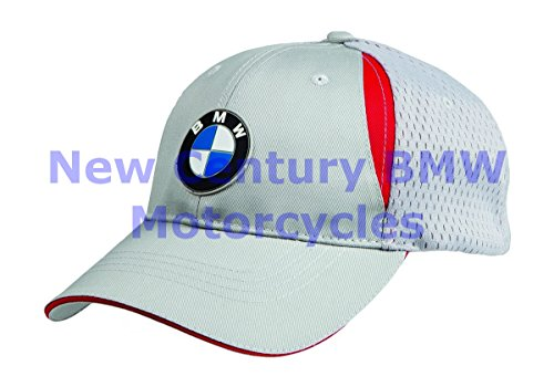 (BMW Genuine Motorcycle Unisex Performance Hat Cap Grey / Red Medium / Large)