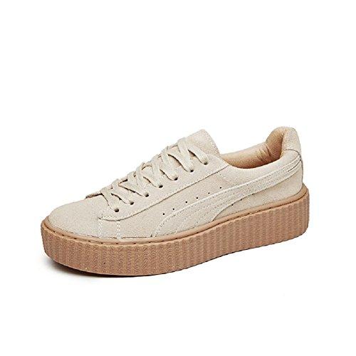 YORWOR Creepers Beige Sneaker Scarpe Basse Donna Stringate rrfvBpwq