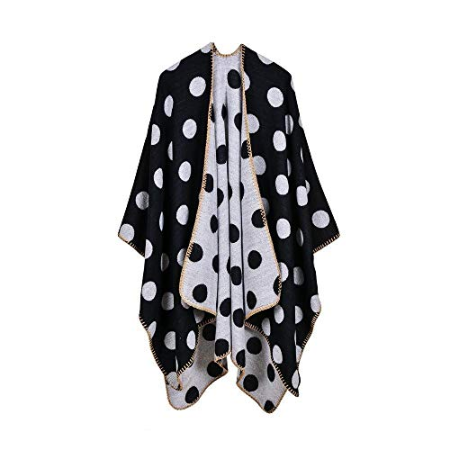 (LXIANGP Ladies Shawl Street Trend Long Thick Split Split Autumn and Winter Office Travel air Conditioning Big dot Cloak )