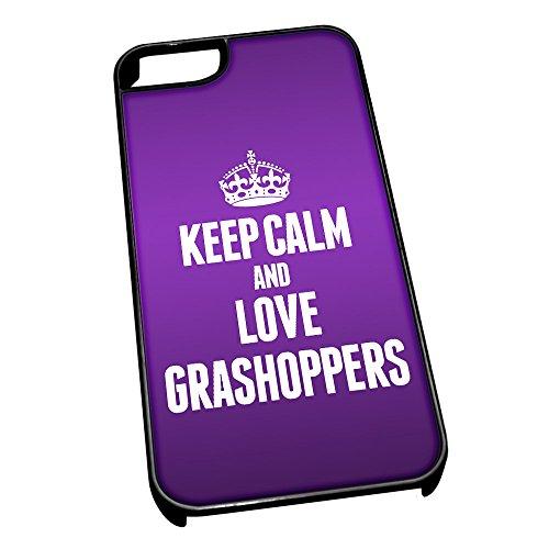 Nero Cover per iPhone 5/5S 2431viola Keep Calm e Love grashoppers