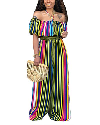 (Womens Elegant Off Shoulder Jumpsuits - Ladies Casual Sexy Rainbow Striped Ruffle Wide Leg Long Pant Suit Rompers Outfits)