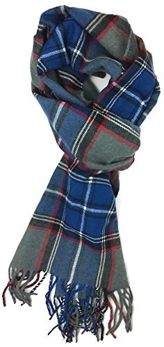 Plum Feathers Super Soft Luxurious Cashmere Feel Winter Scarf (Blue-Grey Plaid)