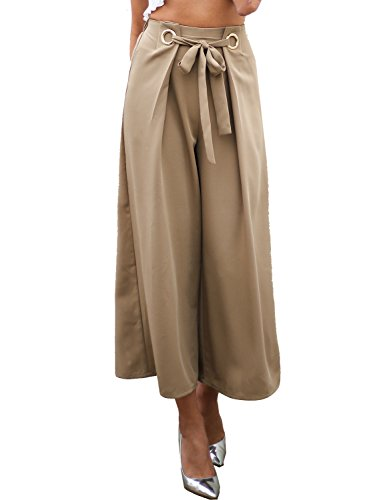 Missy Chilli Women's Casual Tie up Wide Leg Cropped Pants High Waist Elasticated Trousers (Khaki,6/8) -