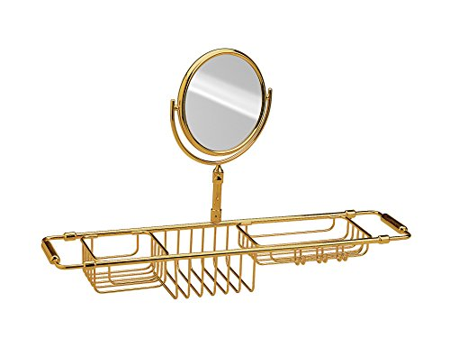 Bathtub Caddy Tray Bath Storage Extending Sides Tub Tray and Makeup Mirror 3X (Polished Gold) by W-Luxury