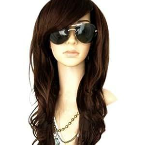 MelodySusie Dark Brown Curly Wig - Glamorous Women Long Curly Wig with Free Wig Cap and Wig Comb (Dark Brown)