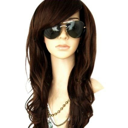 "MelodySusie Dark Brown Curly Wig - 34""Curly Wig with Inclined Bangs Synthetic Cosplay Daily Party Wig for Women Natural as Real Hair (Dark Brown)"