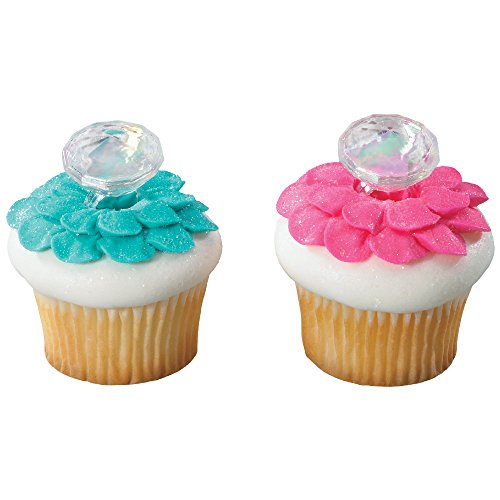 DecoPac Iridescent Diamond Ring Cupcake Rings (12 Count)