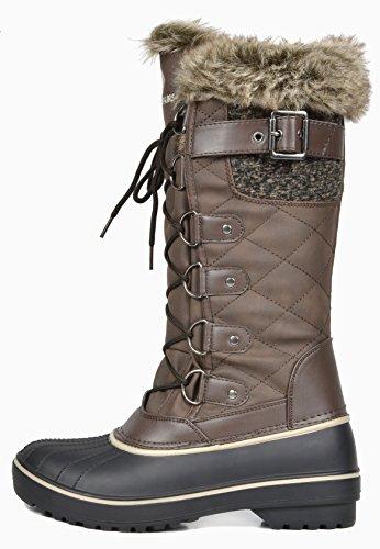 TRAUM-PAAR-Frauen DP-Kanada Kunstpelz gefütterte mittlere Kalb-Winter-Schnee-Aufladungen Braun-ava