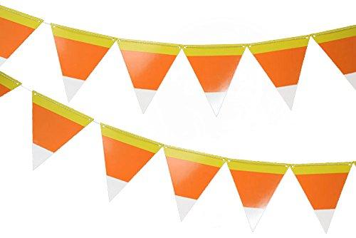 Quasimoon 12FGBUNT-CRN Halloween Candy Corn Flag Pennant Banner, Orange ()