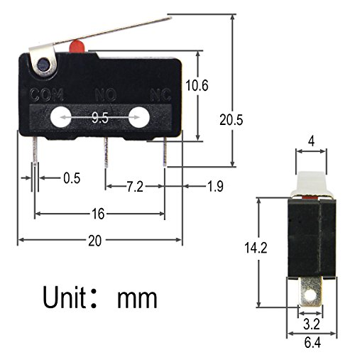 MKV11D17 Microswitch Con Rodillo transversal SPDT 6A//250VAC 5A//24VDC