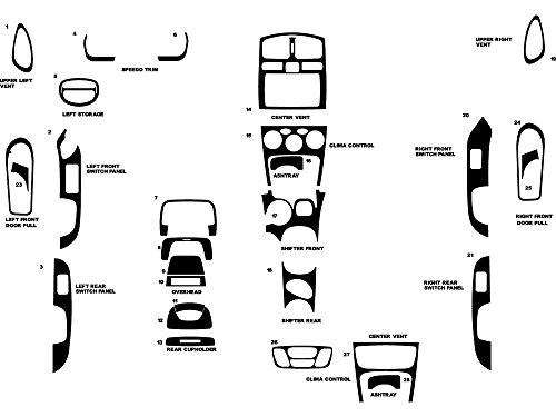 Rdash Dash Kit Decal Trim for Hyundai Santa Fe 2002.5-2004 - Wood Grain (Walnut)