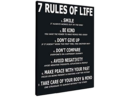 Motivational Canvas Print for Affirmation Rules for Office Decor College Dorm Classroom Gym Workout School Quotes to Change Your Mindset for Growth! Stretched and Framed Ready to Hang (16 X 24 in)