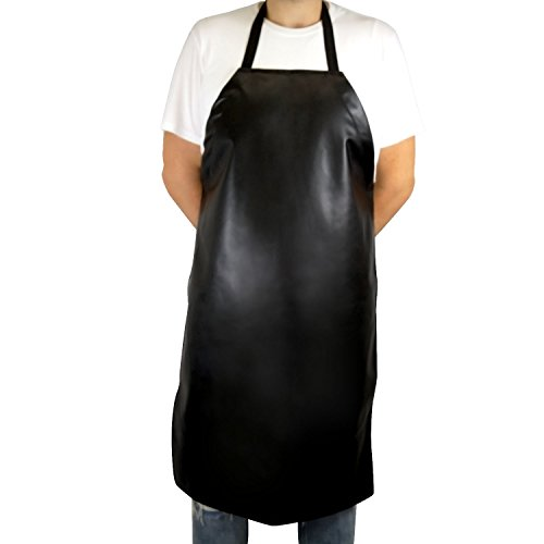Houseables Vinyl Waterproof Apron, 39 x 26 Inch, Black, Long, Water Proof & Resistant Plastic Aprons, Heavy Duty Butcher Industrial Bib, for Kitchen, Cooking, BBQ, Grilling, Dishwashing, Dishwasher