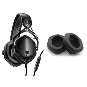 V-MODA Crossfade LP2 Vocal Limited Edition Over-Ear Noise-Isolating Metal Headphone (Matte Black) and V-MODA XL Memory Cushions for Over-Ear Headphones (Black) Bundle