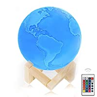 """6""""Moon Lamp, Genuine Earth Light ! 3D Printed Earth Lamp with Stand, The Earth Night Light with LED 16 Colors, Touch Control and Remote Control."""