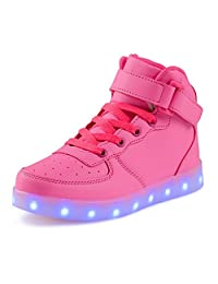 KEVENI Kids Boys Girls High Top USB Charging Led Shoes Light Up Flashing Shoes Fashion Sneakers